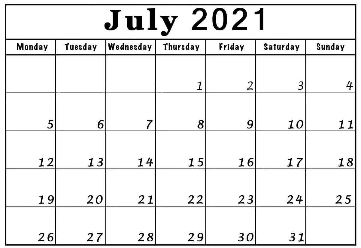 July 2021 monday through friday to sunday calendar