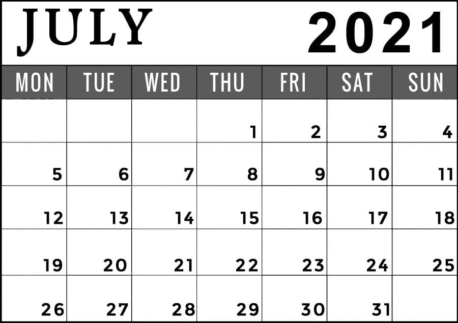July 2021 Printable calendar Monday start