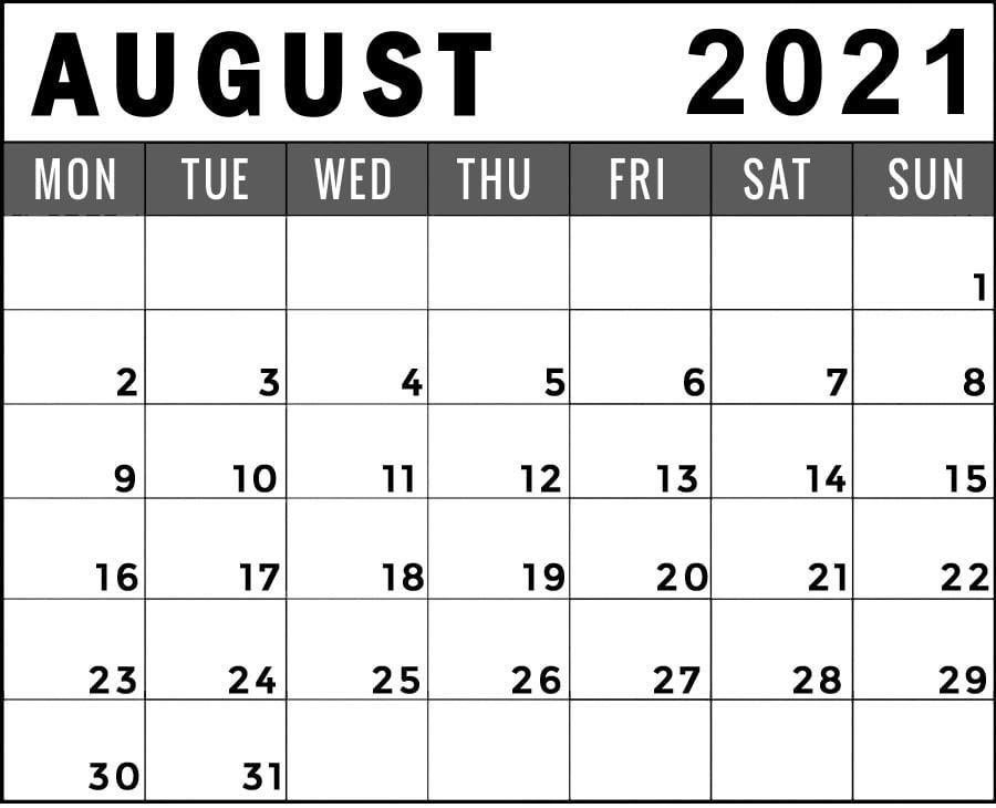 august 2021 calendar monday start printable