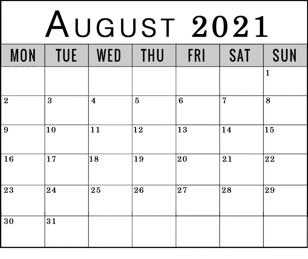 august 2021 monday through friday to sunday calendar
