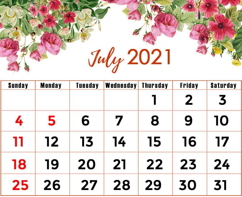 floral july 2021 calendar printable
