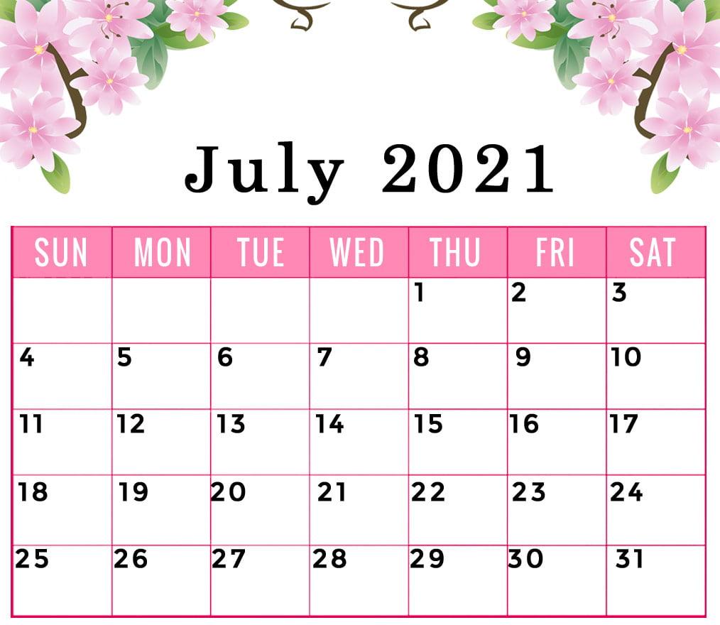 July 2021 calendar floral printable
