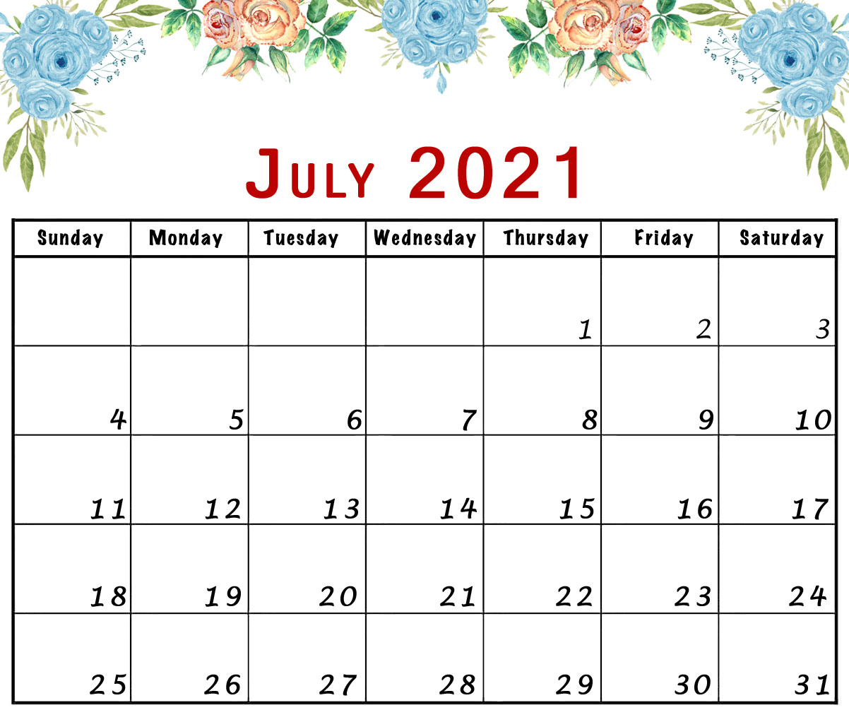 July 2021 calendar printable flowers