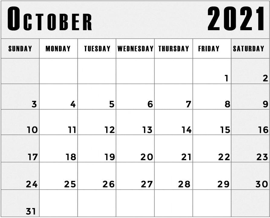 printable october 2021 blank calendar landscape
