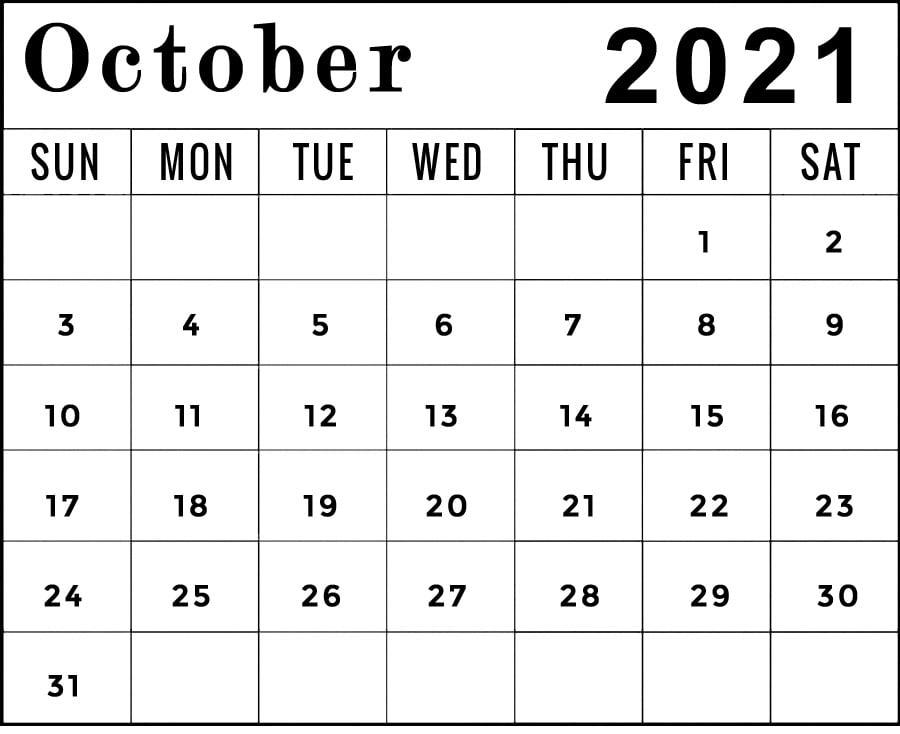 printable october 2021 calendar template horizontal