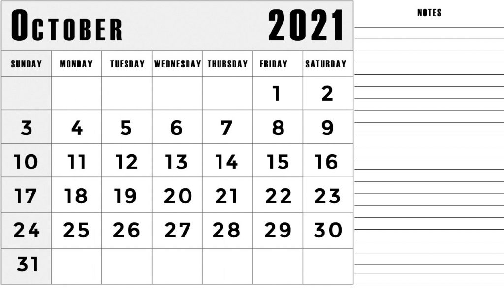 october 2021 calendar with notes section lines template printable