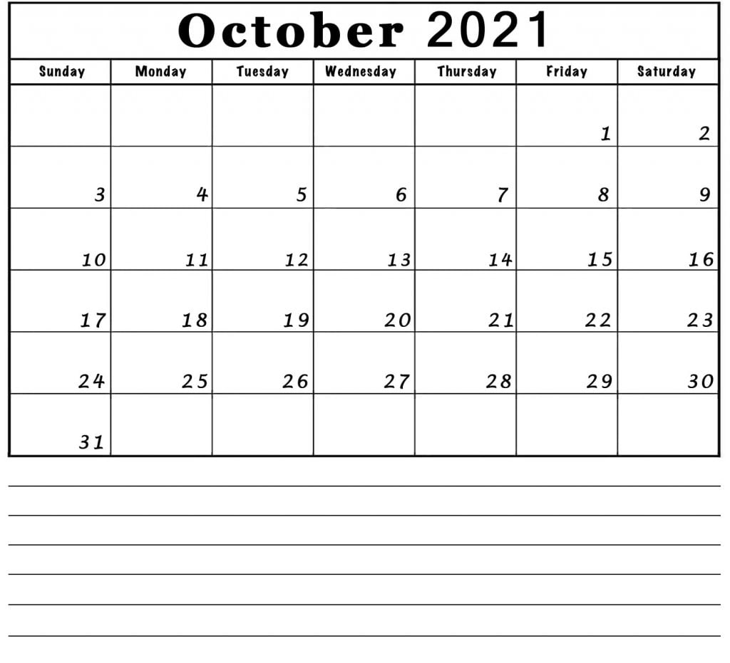 october blank 2021 calendar with notes lines printable