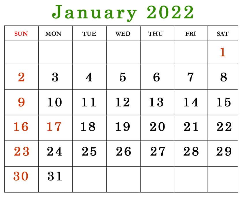2022 january calendar with holidays USA free printable