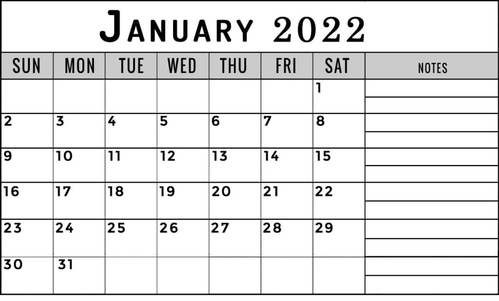 January 2022 calendar with notes section