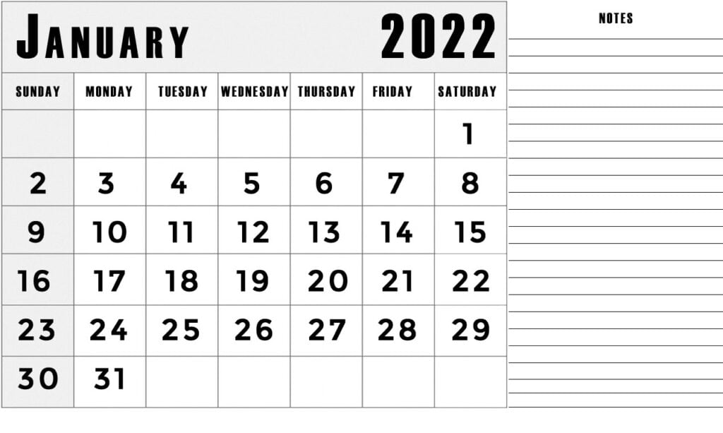 January 2022 calendar with notes section lines template