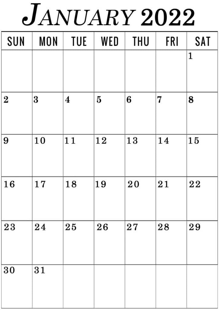 January 2022 vertical calendar printable portrait