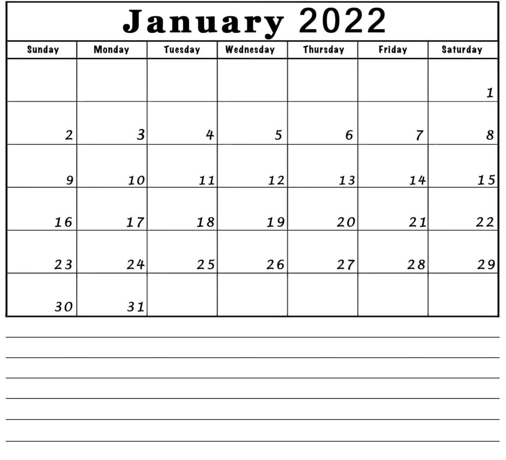 blank January 2022 calendar with notes lines printable
