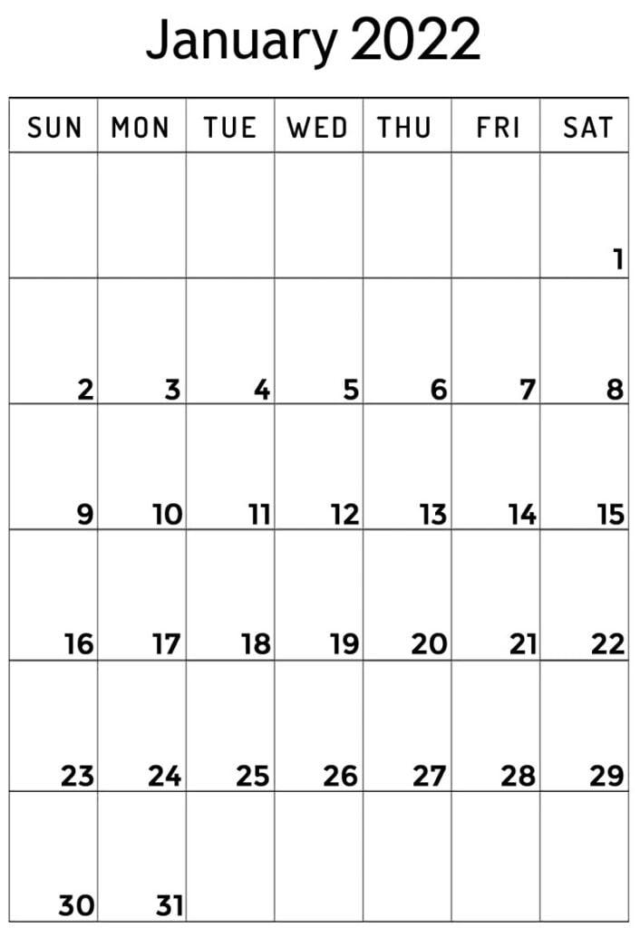 blank January 2022 vertical calendar