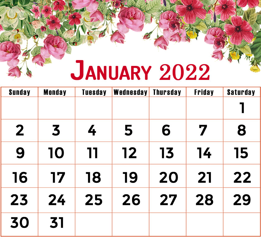 floral january 2022 calendar printable
