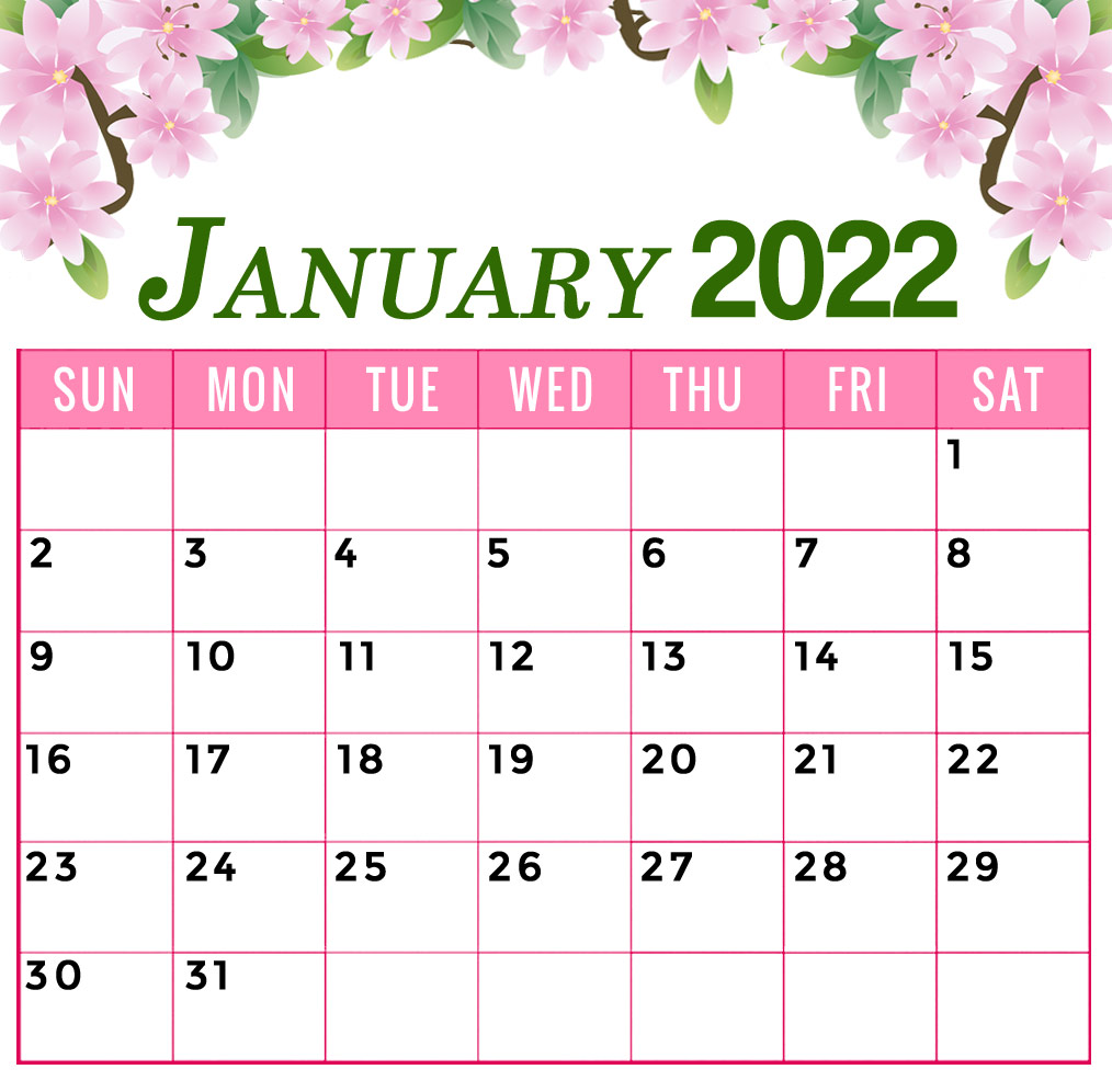 january 2022 calendar floral printable flower template