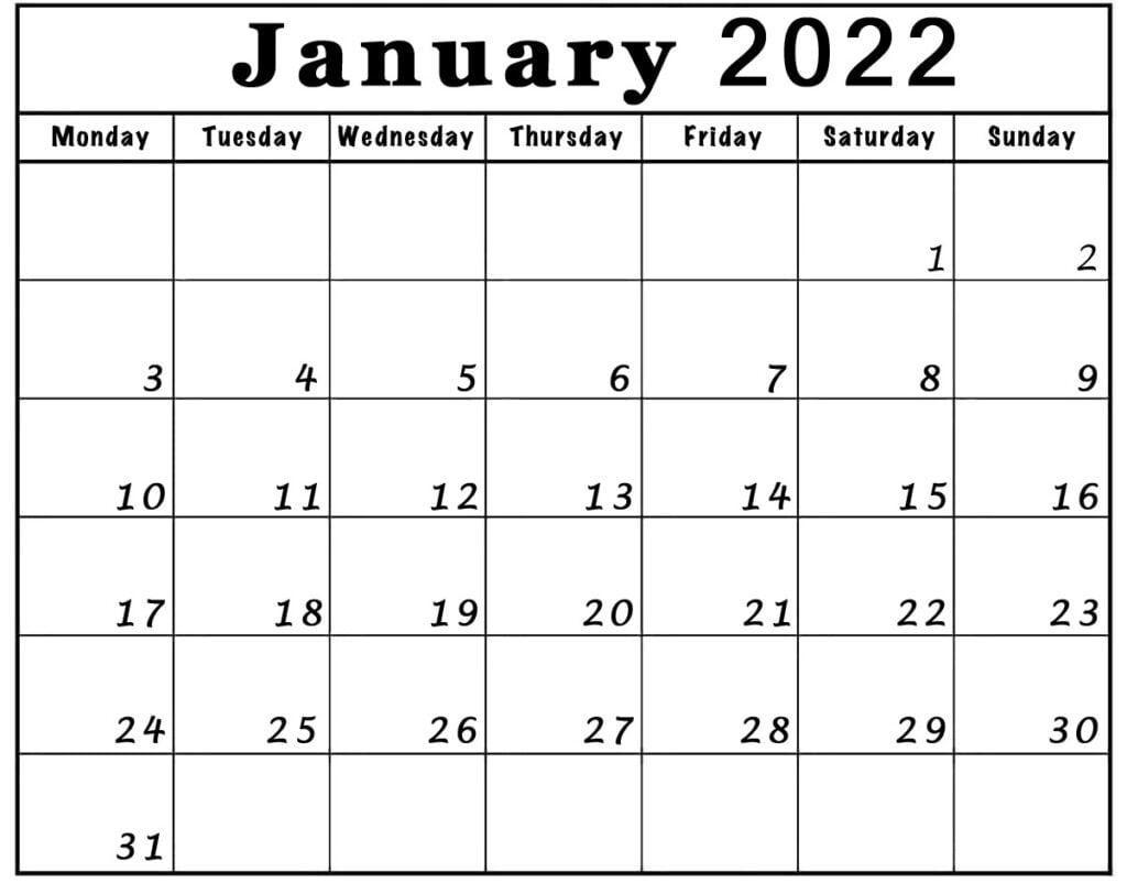 january 2022 calendar monday start to sunday