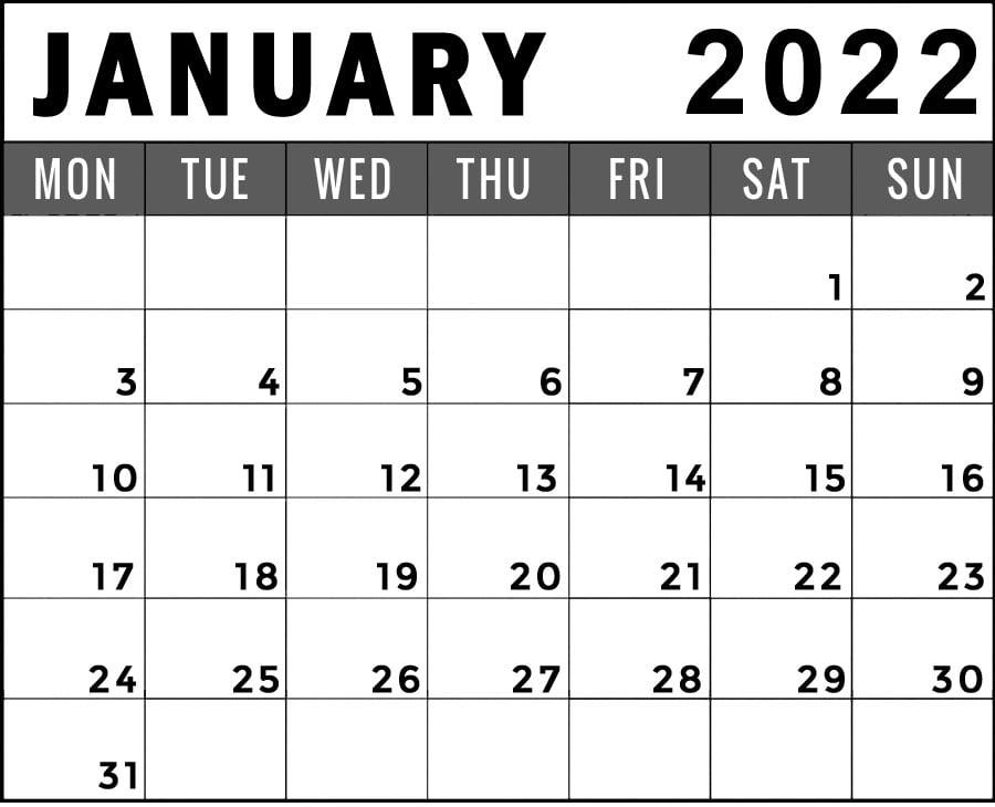 january 2022 calendar monday start