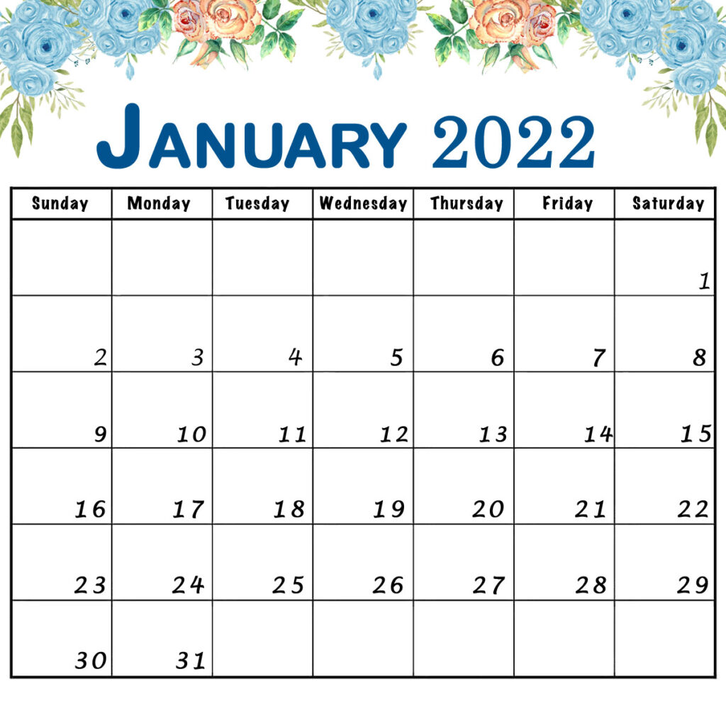 january 2022 floral calendar printable with flowers landscape