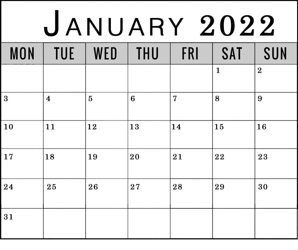 january 2022 monday through friday to sunday calendar