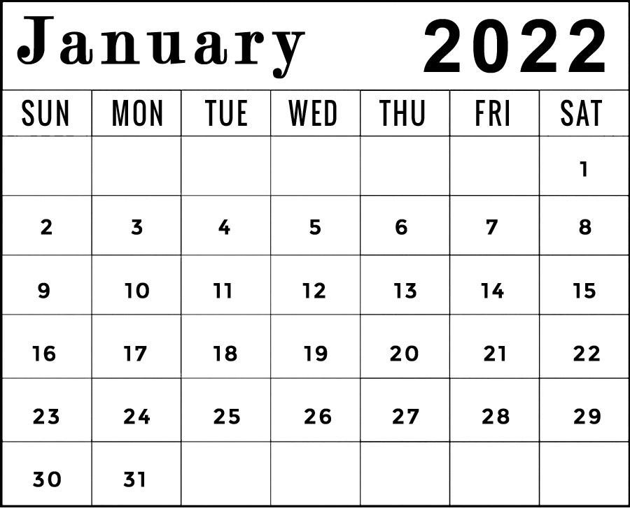 printable january 2022 calendar template horizontal