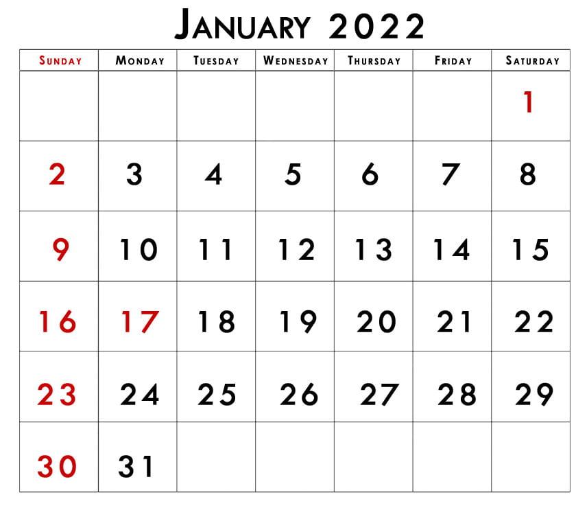 Printable january 2022 calendar with holidays